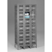 "Tennsco Ventilated Locker VBL6-1218-C 02 - Six Tier No Legs 3 Wide 12""x18""x12"" Welded, Med. Gray"