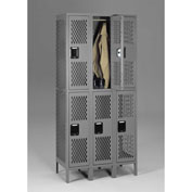 "Tennsco Ventilated Locker VDL-121836-3 02 -  Double Tier w/Legs 3 Wide 12""x18""x36"" Welded, Med. Gray"