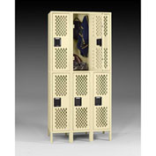 "Tennsco Ventilated Locker VDL-121836-3 214 -  Double Tier w/Legs 3 Wide 12""x18""x36"" Welded, Sand"