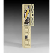 "Tennsco Ventilated Locker VDL-121836-A 214 - Double Tier No Legs 1 Wide 12""x18""x36"" Welded, Sand"