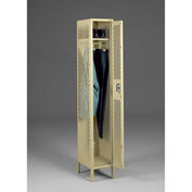 "Tennsco Ventilated Locker VSL-121872-1 214 -  Single Tier w/Legs 1 Wide 12""x18""x72"" Welded, Sand"
