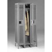 "Tennsco Ventilated Locker VSL-121872-3 02 -  Single Tier w/Legs 3 Wide 12""x18""x72"" Welded, Med. Gray"