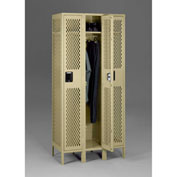 "Tennsco Ventilated Locker VSL-121872-3 214 -  Single Tier w/Legs 3 Wide 12""x18""x72"" Welded, Sand"