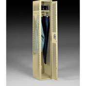 "Tennsco Ventilated Locker VSL-121872-A 214 - Single Tier No Legs 1 Wide 12""x18""x72"" Welded, Sand"