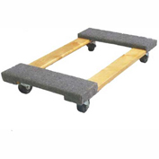 "Fairbanks Hardwood Dolly ED-26-1616-3HR - 16"" x 16"" - Carpeted Ends - 3"" Rubber Wheels - 990 Lb."