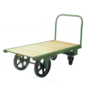 "Fairbanks Steel Bound Platform Truck HQ-3060-RT-407-30 - 30"" x 60"" - 6"" & 12"" Rubber Wheels"