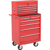 "Global™ 27"" 5-Drawer Roller Tool Cabinet W/Ball Bearing Slides & 27"" Top Tool Chest Combo, Red"