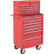 "Global™ 27"" 7-Drawer Roller Tool Cabinet W/Ball Bearing Slides & 27"" Top Tool Chest combo, Red"