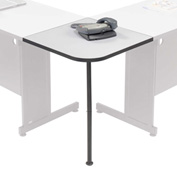 "Interion™ Rounded Corner Tabletop with Support Post, 12"" Radius, Gray"