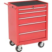 "Global™ Industrial 27"" 5-Drawer Roller Tool Cabinet W/ Ball Bearing Slides - Red"