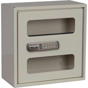 "Harloff Narcotics Cabinet, Single Door, Electronic Push-Button Lock, 12""W x 6""D x 12""H, Beige"