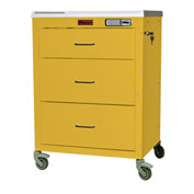 Harloff Mini24 Three Drawer Anesthesia Cart with Electronic Lock, Yellow - 4143E