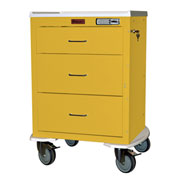 "Harloff Mini24 Three Drawer Anesthesia Cart with Bumper & 5"" Wheels, Electronic Lock, Yellow - 4243E"