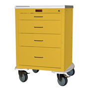 "Harloff Mini24 Four Drawer Infection Control with Bumper & 5"" Wheels, Key Lock, Yellow - 4244K"