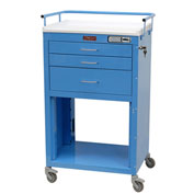 Harloff Mini24 Three Drawer Instrument Cart with Electronic Lock, Light Blue - 4736E