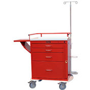 Harloff Classic Short Four Drawer Emergency Crash Cart, Specialty Package, Red - 6301Q