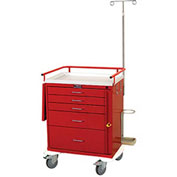 Harloff Classic Short Five Drawer Emergency Cart, Specialty Package, Red - 6331