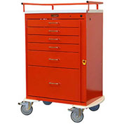 Harloff Classic Tall Six Drawer Emergency Cart, Standard Package, Red - 6400Q