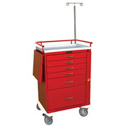 Harloff Classic Tall Six Drawer Emergency Cart, Specialty Package, Red - 6401Q