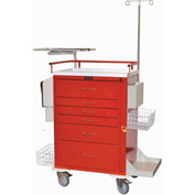 Harloff Classic Tall Six Drawer Super Stat Emergency Cart, Red - 6411