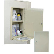"Harloff In-Wall Medication Cabinet, Double Security Door Painted, 14-3/4""W x 6-13/16""D x 23""H, Beige"