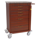 Harloff Wood Vinyl Six Drawer Emergency Cart, Standard Package, Cherry Mahogany - WV6400