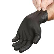 "Powder-Free 9"" Nitrile Gloves, Black, Extra Large"