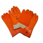 "Foam Lined PVC Gloves, 14"", Fluorescent Orange, Large"