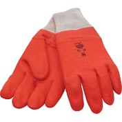 Foam Lined PVC Gloves, Knit Wrist, Fluorescent Orange, Large