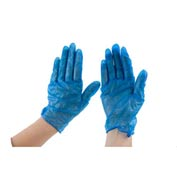 "Powdered 9"" Vinyl Gloves, Blue, Small"