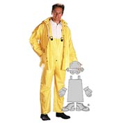 PVC/Polyester Rainsuit, Yellow 3 Piece Suit, L