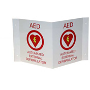 First Voice™ AED 3D V-Shaped Projecting Wall Sign, Plastic