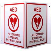 First Voice™ AED 3D V-Shaped Projecting Wall Sign, Metal