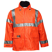 Tingley® Eclipse™ Hi-Visibility FR Hooded Coat, Zipper, Fluorescent Orange/Red, S