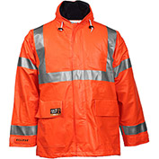 Tingley® Eclipse™ Hi-Visibility FR Hooded Jacket, Zipper, Fluorescent Orange/Red, 3XL