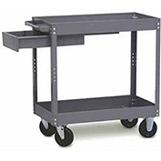 "Tri-Boro Economy 2 Shelf Stock Cart ESC1630D Steel 30 x 16 with 3"" Lip, 500 Lb. Cap."