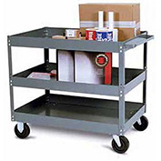 "Tri-Boro Economy 3 Shelf Stock Cart ESC2436-3 22 Gauge Steel 36 x 24 with 3"" Lip, 500 Lb. Cap."