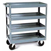 "Tri-Boro Economy 4 Shelf Stock Cart ESC2436-4 22 Gauge Steel 36 x 24 with 3"" Lip, 500 Lb. Cap."