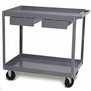 "Tri-Boro Economy 2 Shelf Stock Cart ESC2436DD Steel 36 x 24 with 3"" Lip, 500 Lb. Cap."