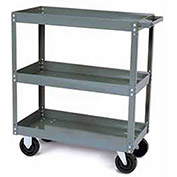 Tri-Boro Heavy Duty 3 Shelf Stock Cart SC2436-3 18 Gauge Steel 36 x 24 with 2-1/4 Lip, 1000 Lb. Cap.