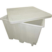 "Romotech Plastic Gaylord Pallet Container 82125038 with Lid 50""L x 50""W x 36-1/2""H, Natural"
