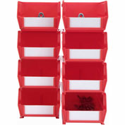 Triton 028-R Poly Red Hanging Bin & BinClip Kits, (4) Small & (4) Medium