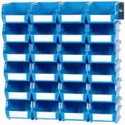 LocBin Wall Storage, 3-220BWS, W/Rails, Medium, Blue (26 pc)