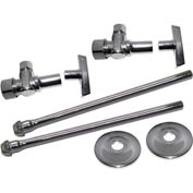 Faucet Supply Kit 3/8 In. O.D. X 5/8 In. O.D. Risers W/Loose Key 1/4 Turn Ball Valves & Escutcheons - Pkg Qty 10