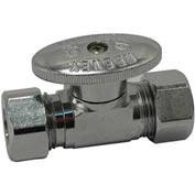 "Keeney  Straight Quarter Turn Valve 5/8"" O.D. X 7/16""-1/2"" O.D. Slip Joint, Chrome - Pkg Qty 20"