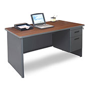 "Marvel® - Pronto® 48""W Single Pedestal Desk, Dark Neutral/Mahogany"
