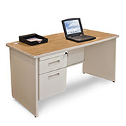 "Marvel® - Pronto® 48""W Single Pedestal Desk, Pumice/Oak"