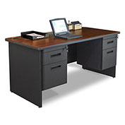"Marvel® - Pronto® 60""W Double Pedestal Desk, Dark Neutral/Mahogany"