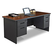 "Marvel® - Pronto® 66""W Double Pedestal Desk, Dark Neutral/Mahogany"
