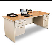 "Marvel® - Pronto® 66""W Double Pedestal Desk, Pumice/Oak"